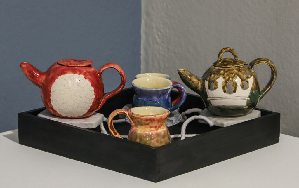 Earthenware with felt and fabric