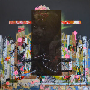 Fausto Fernandez, Black Monolith,2018; collage, acrylic, oil sticks,and spray paint on canvas