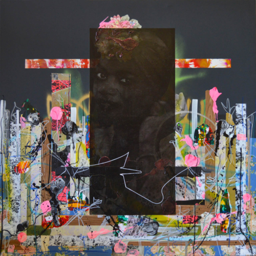 Fausto Fernandez, Black Monolith, 2018; collage, acrylic, oil sticks, and spray paint on canvas